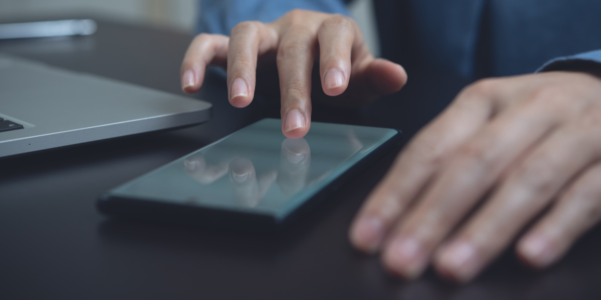 man using phone for digital signature