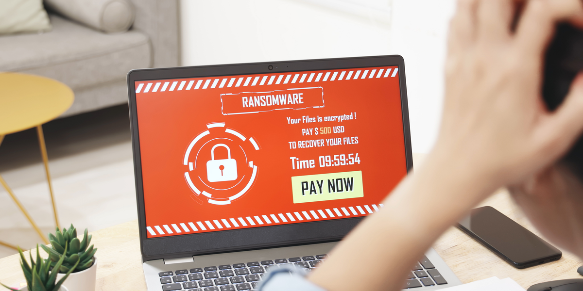 person looking at ransomware screen